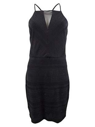 GUESS Women's Black Cocktail Dress with MESH Vneck Size 8