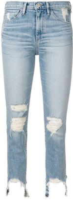 3x1 Frayed Trim Cropped Jeans