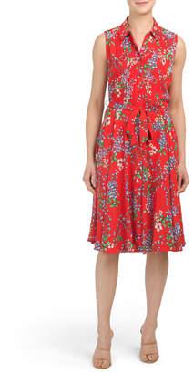 Floral Pintuck Shirt Dress