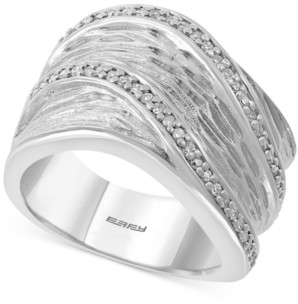 Effy Diamond Textured Wide Statement Ring (1/4 ct. t.w.) in Sterling Silver