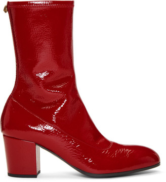 Gucci Red Patent Printyl Boots