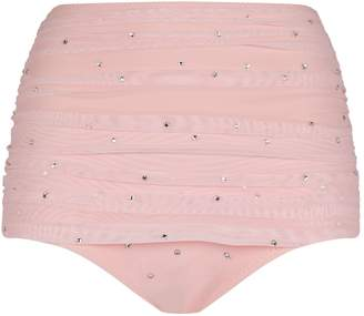 Norma Kamali Rhinestone-Embellished Mesh Bikini Bottoms