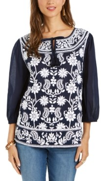 Style&Co. Style & Co Petite Embroidered Split-Neck Blouse, Created for Macy's