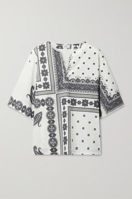 Etro Printed Cotton-blend Poplin Top - Ivory