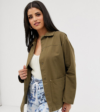 Asos Tall DESIGN Tall utility washed cotton jacket-Green