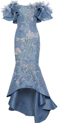 Marchesa Off-the-shoulder Embellished Silk-gazar Gown