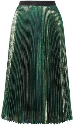 Christopher Kane Pleated Silk-blend Lame Midi Skirt