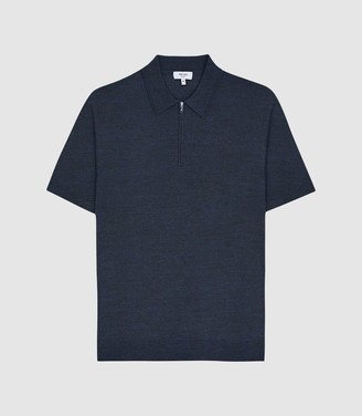 Reiss Maxwell - Merino Zip Neck Polo in Airforce Blue