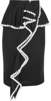Givenchy Faux Pearl-embellished Jersey Peplum Skirt - Black