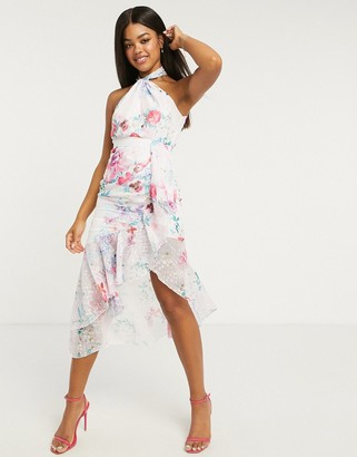 Lipsy halterneck ruffle maxi dress in pink floral print