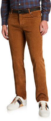 Kiton Men's Straight-Leg Corduroy 5-Pocket Pants, Vicuna