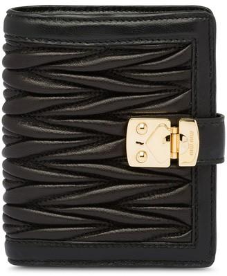 Miu Miu Matelasse Lock leather wallet