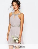 TFNC WEDDING Embellished Pleated Mini Dress