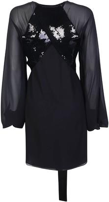 Saint Laurent Sequin-Detailed Sheer Sleeves Dress