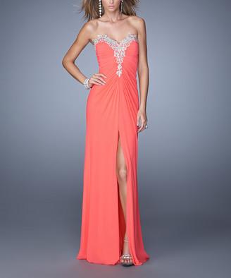 La Femme Women's Special Occasion Dresses Pink - Pink Grapefruit Front-Slit Embellished Strapless Gown - Women