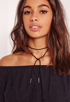 Missguided Wishbone Wrap Around Necklace Black
