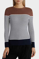 Basque Stripe Jumper With Solid Yoke