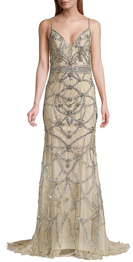 Thumbnail for your product : Jovani Beaded Sleeveless Gown