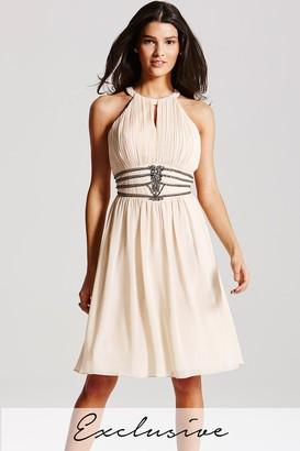 Little Mistress Nude Embellished Cut Out Dress
