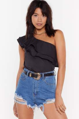 Nasty Gal Womens Layer It On One Shoulder Ruffle Top - Black - L