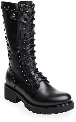 Nero Giardini Dual-Zip Stud Leather Tall Combat Booties