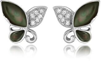 Del Gatto Diamond Gemstone Butterfly 18K Gold Earrings