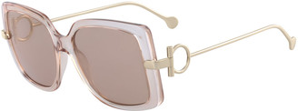 Salvatore Ferragamo Gancio Rectangle Plastic & Metal Sunglasses