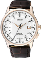 Citizen Cb0153-21a World Perpetual At Date Leather Strap Watch, Brown/white