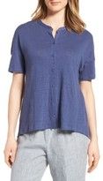 Eileen Fisher Women's Mandarin Collar Organic Linen Knit Shirt
