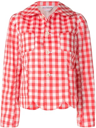 COMME DES GARÇONS GIRL Scalloped Hem Gingham Check Jacket