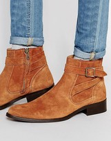 Asos Pointed Boots in Tan Suede With Wrap Around Buckle Strap
