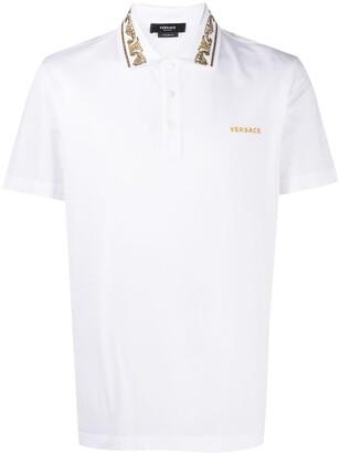Versace Rhinestone-Embellished Logo Polo Shirt