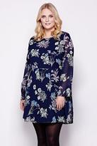 Yumi Curves Navy Floral Print Long Sleeve Dress plus size 18-26