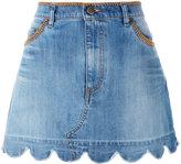 RED Valentino scallop hem denim skirt - women - Cotton/Spandex/Elastane - 38