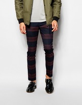 Selected Homme Large Scale Check Trousers In Skinny Fit - Red