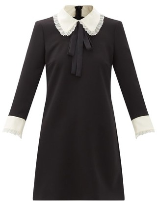 RED Valentino Peter Pan-collar Crepe De Chine Dress - Black
