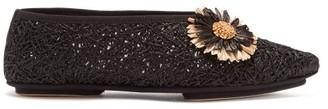 Sanayi 313 - Salerno Floral-applique Raffia Flats - Black