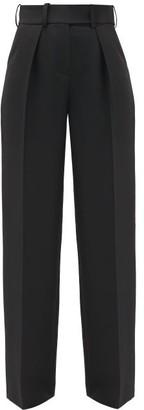 Alexandre Vauthier Side-stripe Wool-crepe Wide-leg Trousers - Black