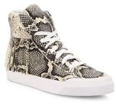 Loeffler Randall Delaney Fringe Snake-Embossed Leather High-Top Sneakers