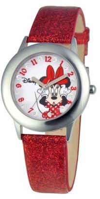 Disney Minnie Mouse Girls'Stainless Steel Glitz Watch, Red Glitter Leather Strap