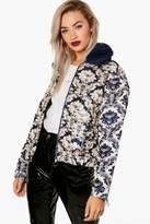 boohoo Mel Boutique Brocade Faux Fur Collar Jacket blue
