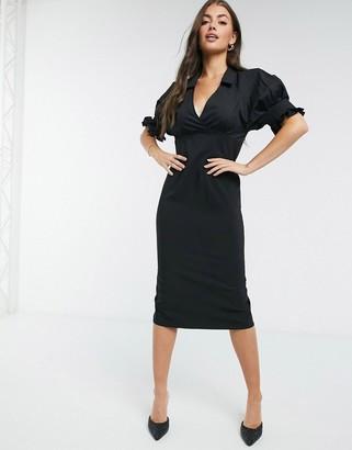 ASOS DESIGN collared mix fabric midi pencil dress in black