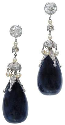 Platinum Diamond Pearl Sapphire Dangle Earrings