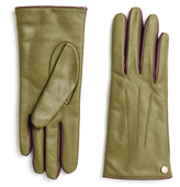 Furla Metropolis Green and Purple Two-Tone Leather Gloves