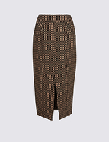 M&S Collection Front Split Printed Pencil Midi Skirt