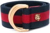 Gucci feline-embellished Sylvie Web belt - women - Cotton/metal - 75