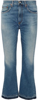 Rag & Bone Vintage Crop Frayed High-rise Flared Jeans - Mid denim