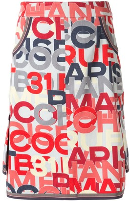 Chanel Pre Owned Logo Printed Knee-Length Skirt