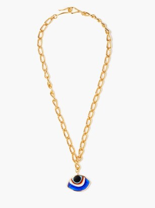 Tohum Evil Eye 24kt Gold-plated Pendant Necklace - Blue Gold