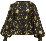 Emilia Wickstead Margot Floral-print Georgette Blouse - Womens - Black Yellow